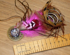 Feather Brooch or Hat Pin with Curled Pheasant Tail Feather.