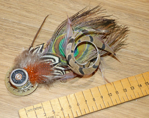 Stunning Large Spiral Pheasant and Peacock Hat Pin - clip on