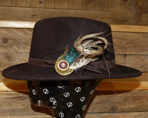 Stunning Hat Pin with Peacock and Curled Pheasant Tail Feather.