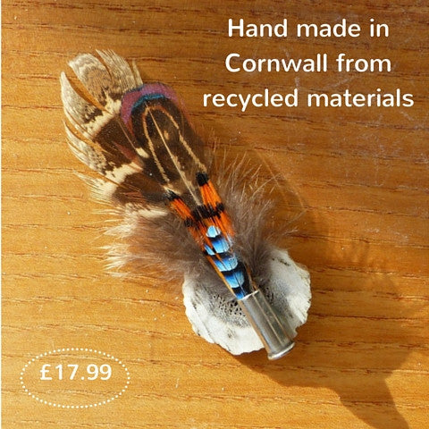 Natural Feather Brooch Set on Antler