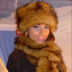 Golden Wolf Faux Fur Hat
