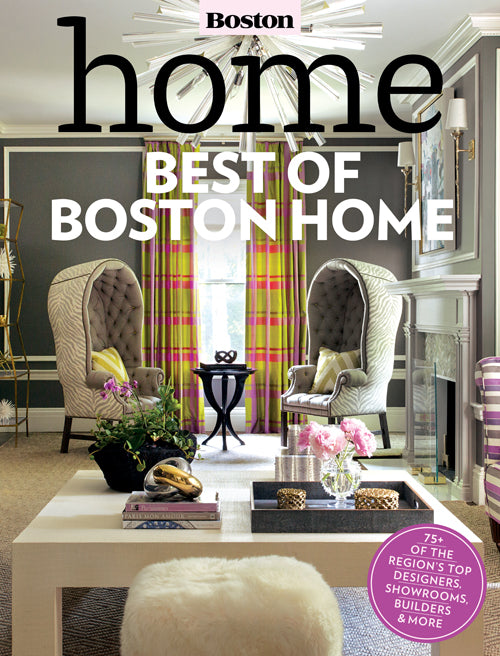 Best of Boston Home 2014 Featuring Liz Caan Interiors on Cover for Best Interior Designer Living Room Category
