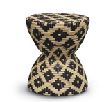 Black & Natural Rattan Hourglass Stool