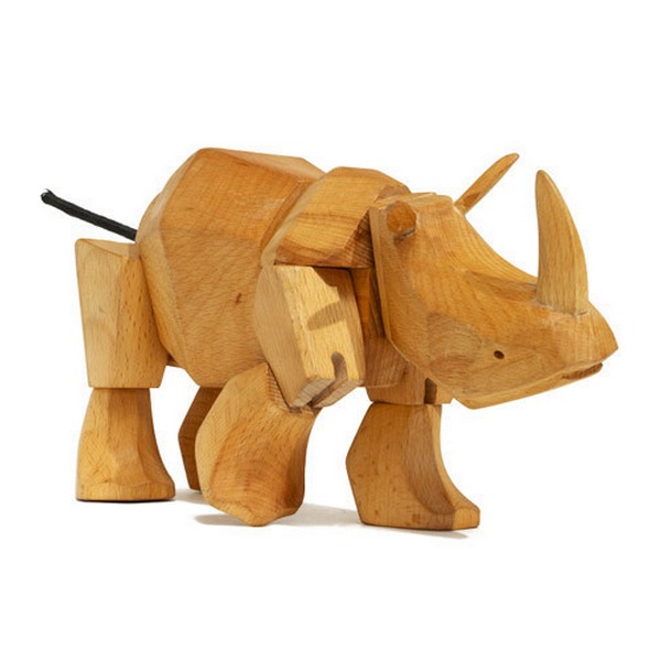 Beechwood Rhino Toy by David Weeks