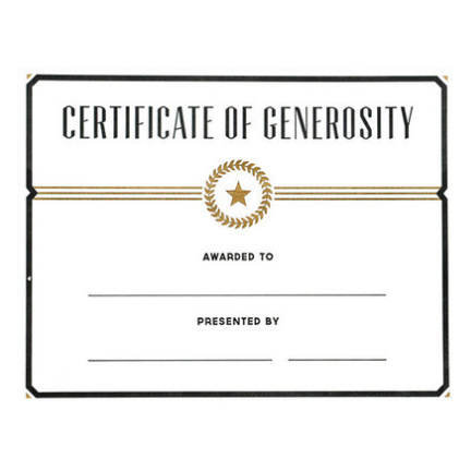 Certificate of Generosity
