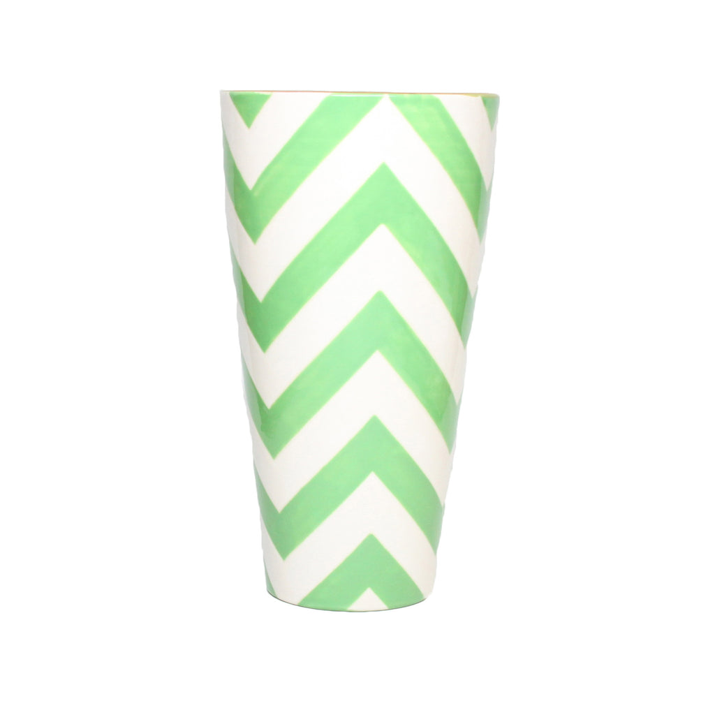 Green Chevron Vase