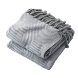 White/Dove Gray Herringbone Throw