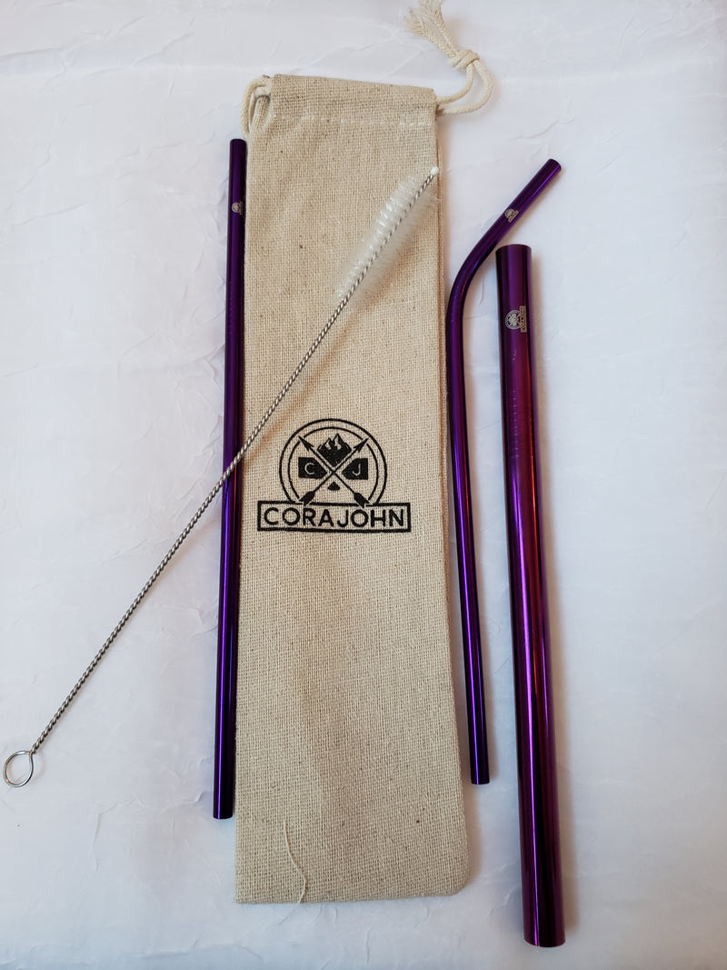 Stainless Steel Reusable Straws by CoraJohn