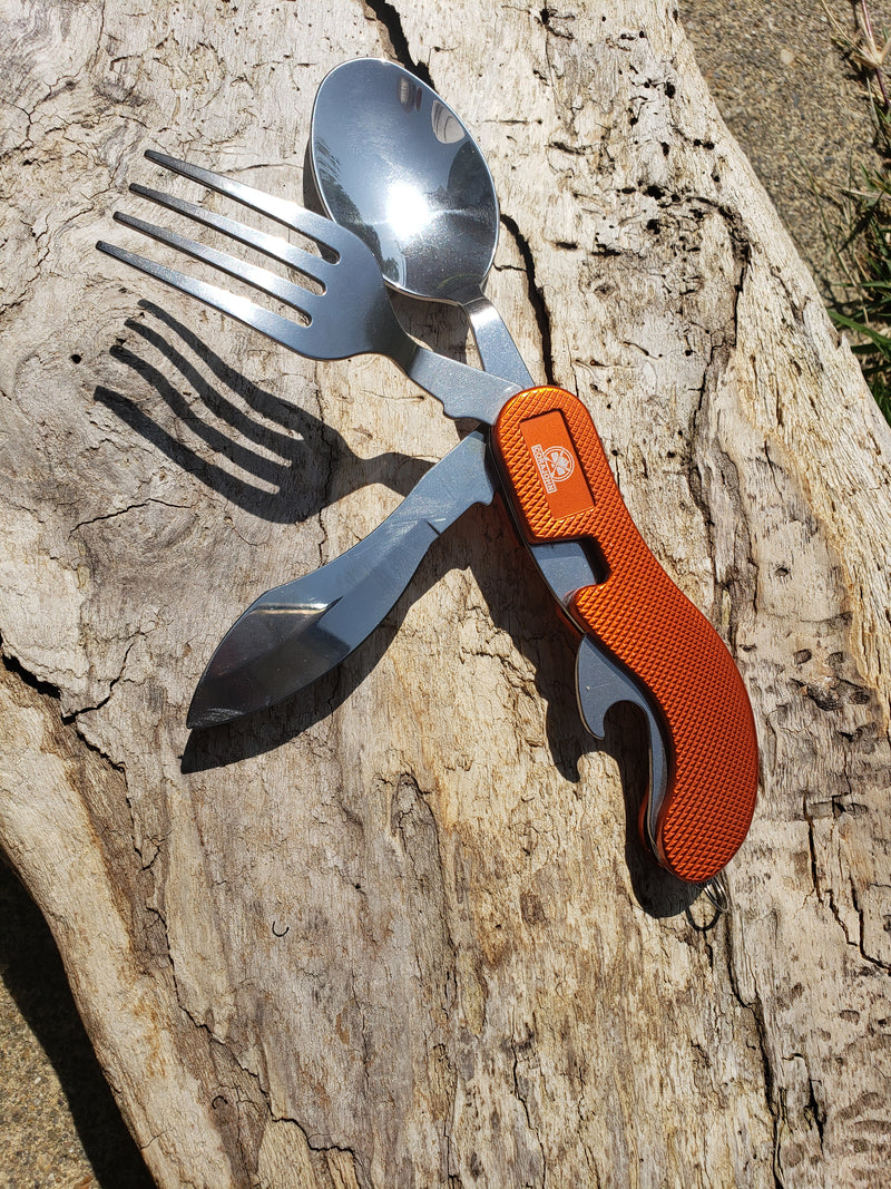 4-in-1 Camping Utensil, Stainless Steal fork knife Spoon Bottle Opener with Storage Case. By CoraJohn