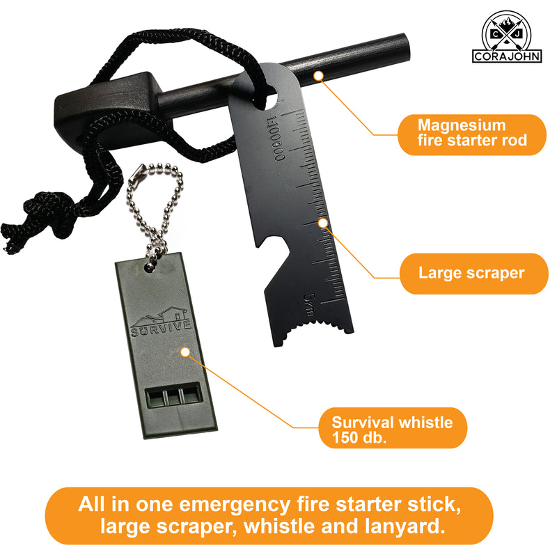 CoraJohn Magnesium Survival Fire Starter and Whistle