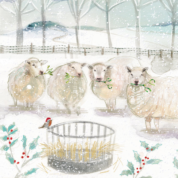 Sheep at the Hay Stack Christmas Card