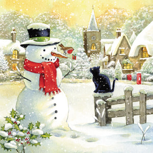 Christmas Friends Snowman and Cat Christmas Card