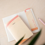 Recycled Paper Lined Pocket Book - 'Ideas' in Cream / Pink