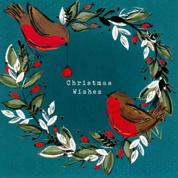 Robins in a Wreath