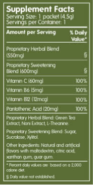 Green Tea Hawaii - Nutrition Supplement Facts