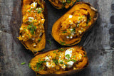 Baked Sweet Potato with Goat Cheese and Chives
