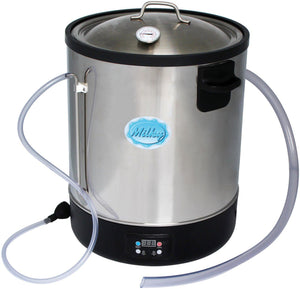 Electric Pasteurizer with inlet and outlet tubing and additional product thermometer visible