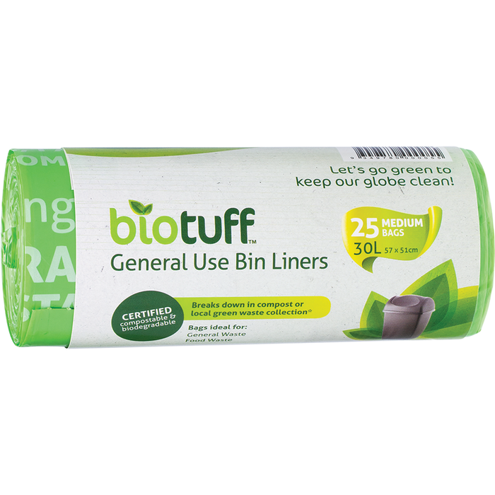 BIOTUFF General Use Bin Liners Medium Bags - 30L 25