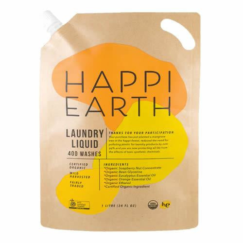 Happi Earth Laundry Liquid & Refill Pouch - 400 Wash Loads - 1L