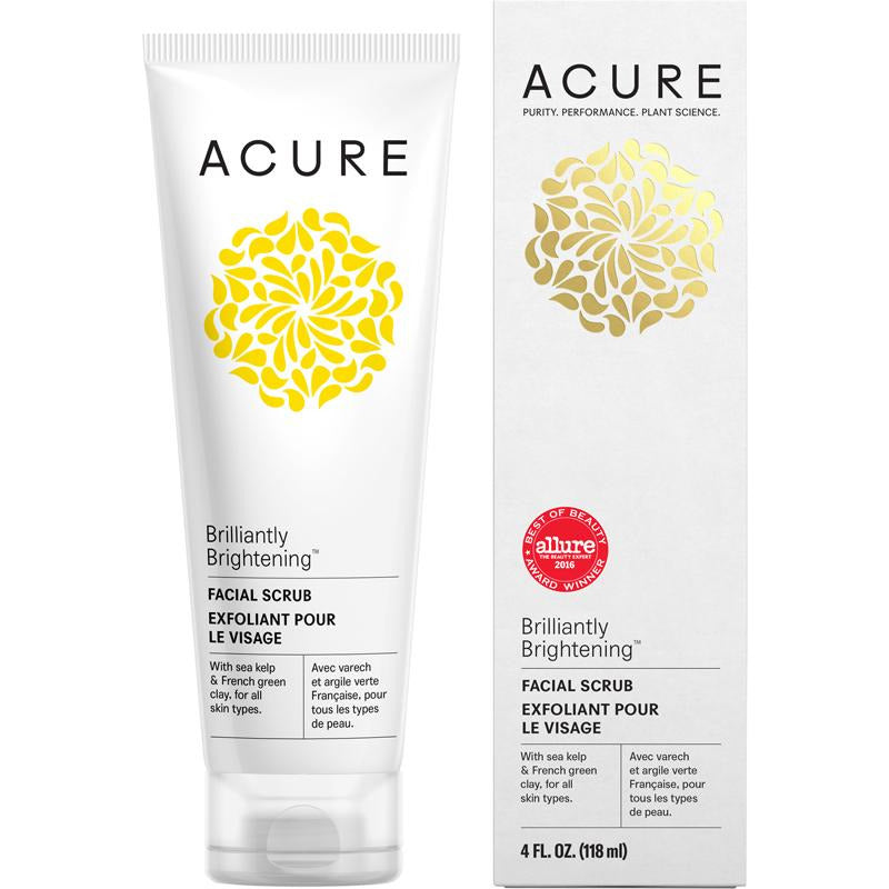 Acure Brilliantly Brightening Facial Scrub - 118ml - Hummingbird Sings