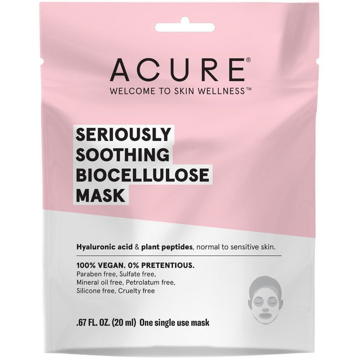 Acure Seriously Soothing Biocellulose Mask - 20ml - Hummingbird Sings