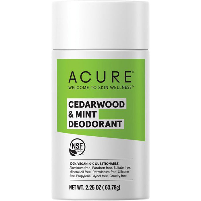 Acure Stick Deodorant - Cedarwood & Mint - Hummingbird Sings