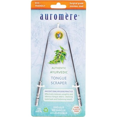 AUROMERE Ayurvedic Tongue Scraper Surgical Grade Stainless Steel 1