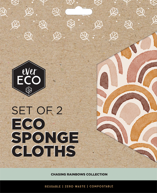 EVER ECO Eco Sponge Cloths Chasing Rainbows (2 Pack)