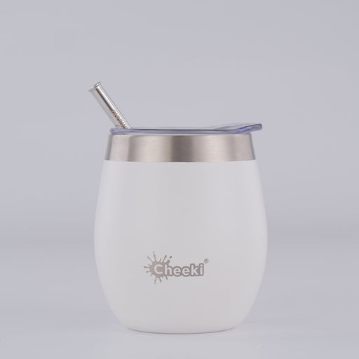 CHEEKI Insulated Wine Tumbler 220ml with Straw - Spirit White - Hummingbird Sings