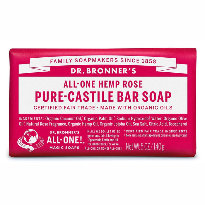 Dr Bronner's Pure Castile Soap Bar - Rose - Hummingbird Sings
