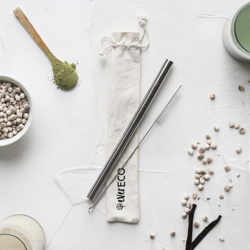 Ever Eco Bubble Tea Straw Kit - Straight  Stainless Steel + Cleaning Brush - Hummingbird Sings
