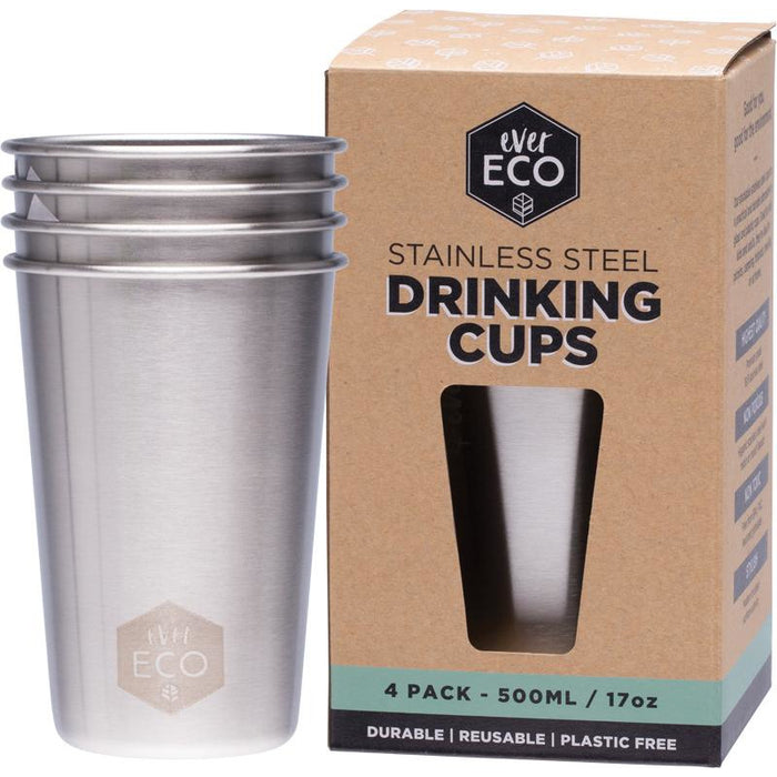 Ever Eco Stainless Steel Drinking Cups 4 Pack - Hummingbird Sings
