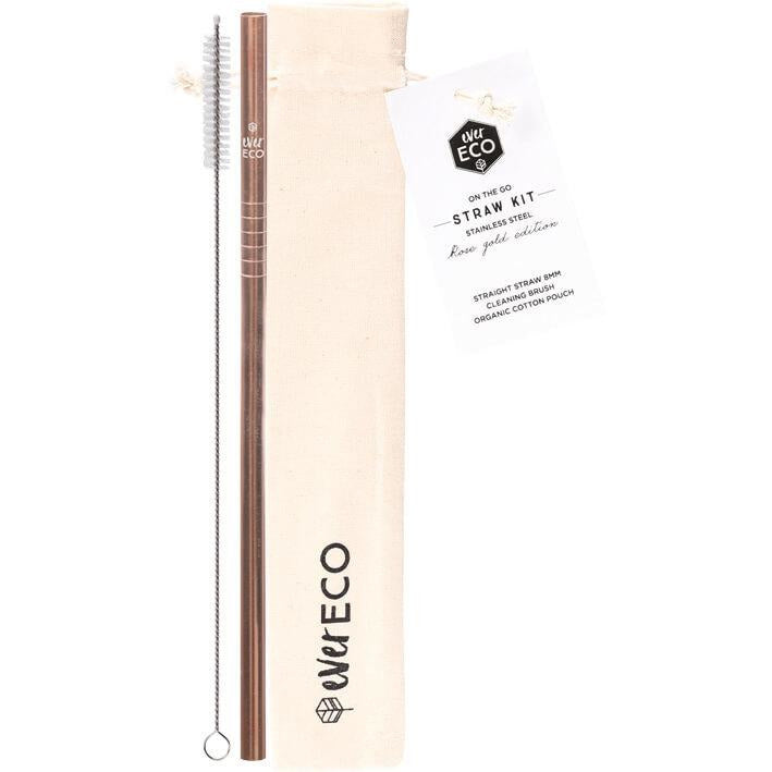 Ever Eco Stainless Steel Straw - Straight Rose Gold incl. Cleaning Brush & Pouch - Hummingbird Sings