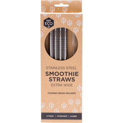 Ever Eco Stainless Steel Straws (4) - Straight Smoothie (Extra Wide) - Hummingbird Sings