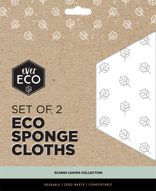 EVER ECO Eco Sponge Cloths Scandi Leaves (2 Pack)