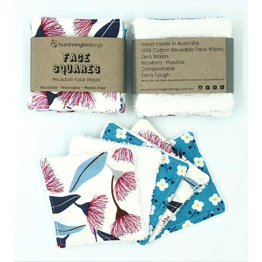 HbS Reusable Face Wipes (x5) - Gum Nut Flower - Hummingbird Sings