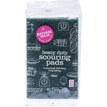 NATURAL VALUE Heavy Duty Scouring Pads 2 Pack - Hummingbird Sings
