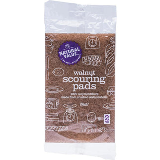NATURAL VALUE Walnut Scouring Pads 2 Pack - Hummingbird Sings