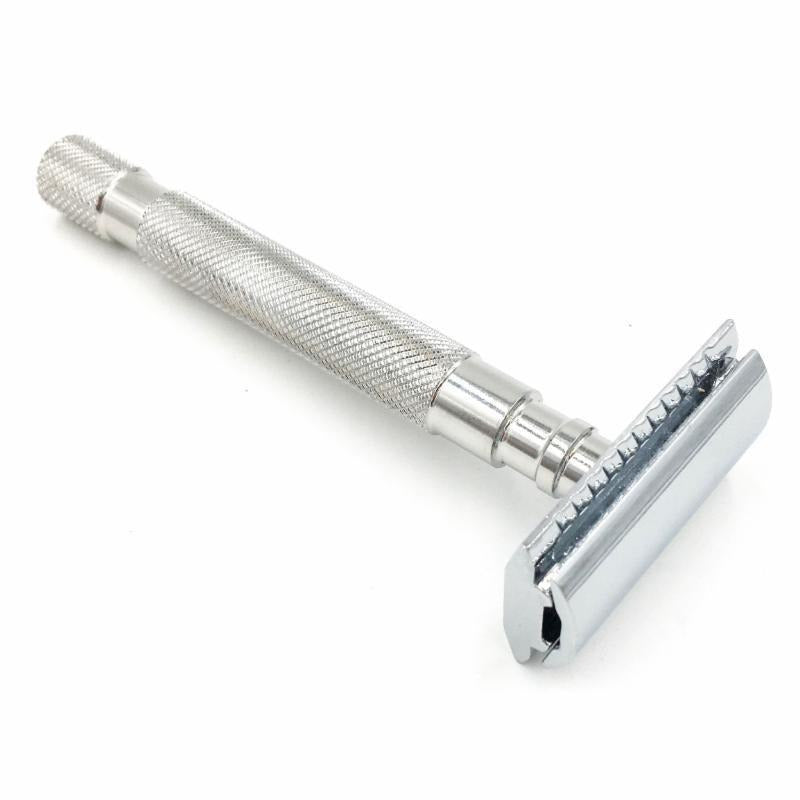 Parker 64S Stainless Steel Safety Razor with Closed Comb Head - Hummingbird Sings