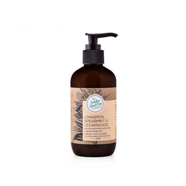 The Australian Natural Soap Company Liquid Soap 250ml - Cinnamon, Spearmint & Cedarwood - Hummingbird Sings