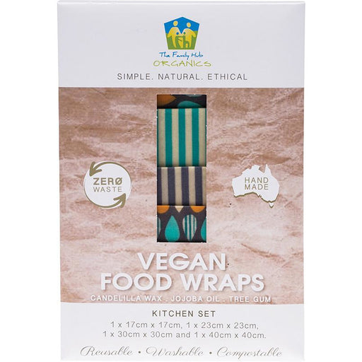 The Family Hub Organics Vegan Food Wraps -  Kitchen Set (1 sml, 1 med, 1 lge, 1 XL) - Hummingbird Sings