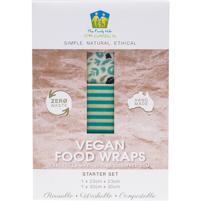 The Family Hub Organics Vegan Food Wraps - Starter Set (1 med, 1 lge) - Hummingbird Sings