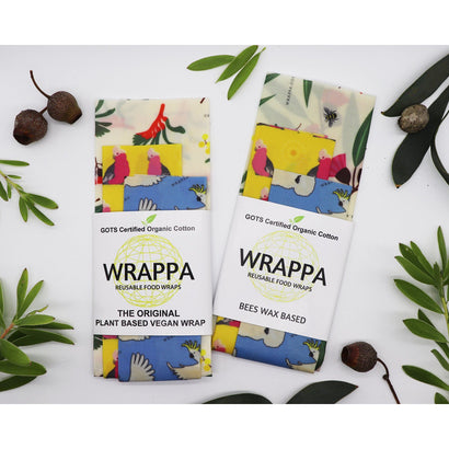 Wrappa Birds and Bees Vegan Wrap ~ 3 Pack (2 x med & 1 x Lrg) - Hummingbird Sings