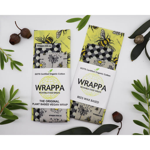 Wrappa Busy Bees Vegan Wrap ~ 3 Pack (2 x med & 1 x Lrg) - Hummingbird Sings
