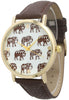 Elephant Tribal Print Face Watch with Leather Band