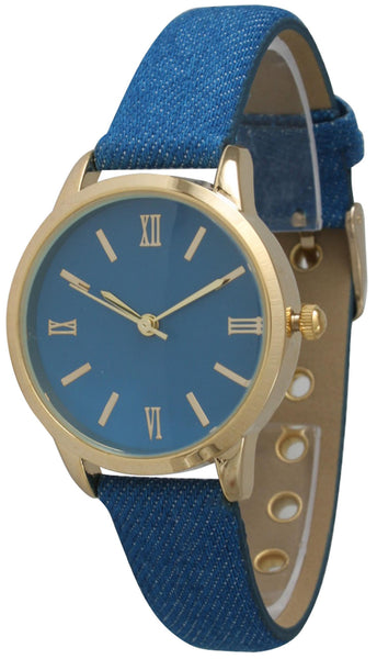 Petite Denim Leather Band Watch