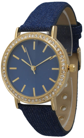 Denim Rhinestone Leather Watch