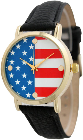 American Flag Patriotic Print Face Leather Band Watch