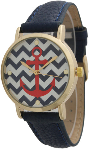 Chevron Anchor Print Face Leather Band Watch