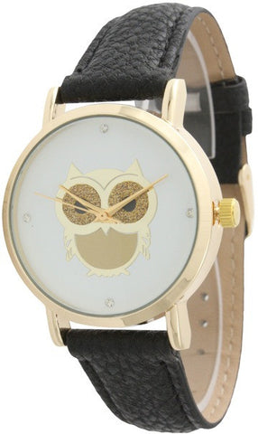 Owl Watch With Leather Band